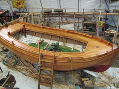 Heavy duty clinker built launch now under construction and nearing compleation.. - New build clinker larch by Peter Matheson. Clydeside Traditional Boatbuilders. - ID:97828